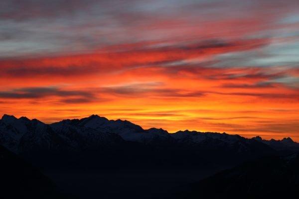 herbstlicher Sonnenaufgang von der Magdeburger Hütte